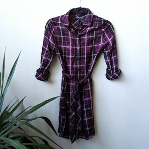 Banana Republic Plaid Button Front Mini Dress 00P